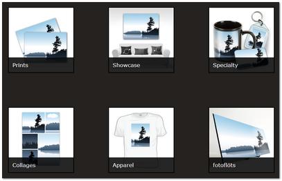 הצגת התמונה על גבי מוצרים שונים כחלק מהפלטפורמה של Zenfolio